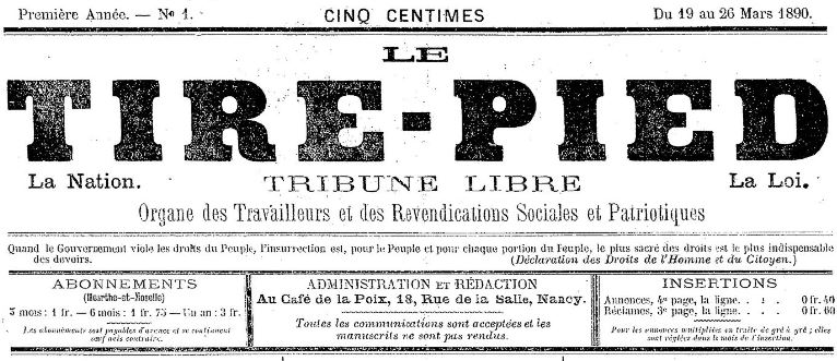 Photo (BnF / Gallica) de : Le Tire-pied. Nancy, 1890-[1891?]. ISSN 2100-515X.