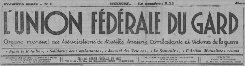 Photo (BnF / Gallica) de : L'Union fédérale du Gard. Nîmes, 1936-1938. ISSN 2139-4229.