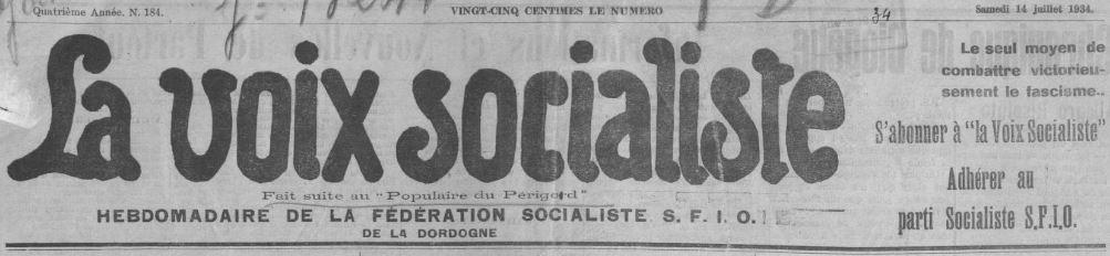 Photo (BnF / Gallica) de : La Voix socialiste. Périgueux, 1934-[1947 ?]. ISSN 2113-2488.