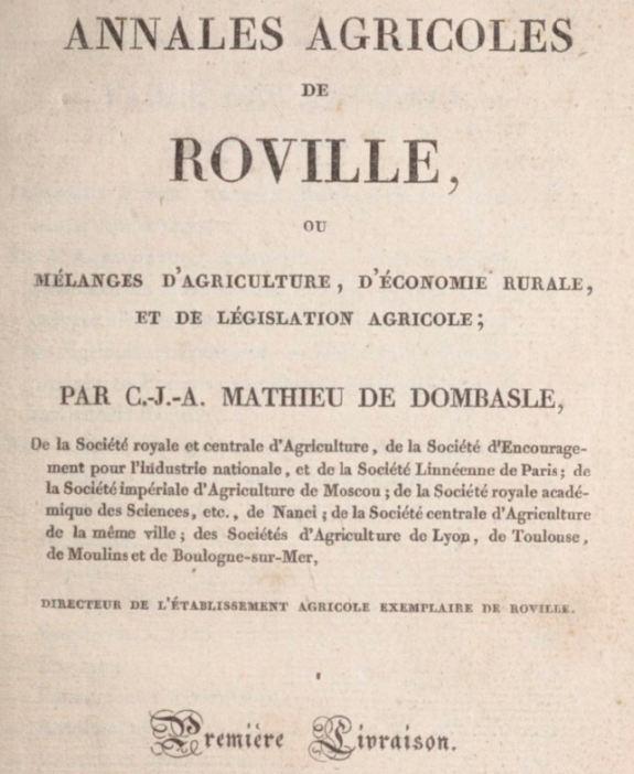 Photo (BnF / Gallica) de : Annales agricoles de Roville. Paris: Mme Huzard, 1824-1837. ISSN 1241-3100.