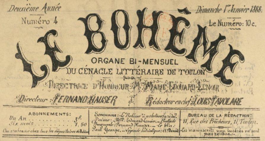 Photo (BnF / Gallica) de : Le Bohême. Toulon, 1887-1888. ISSN 1246-533X.