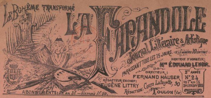 Photo (BnF / Gallica) de : La Farandole. Toulon, 1888-1889. ISSN 1246-5348.