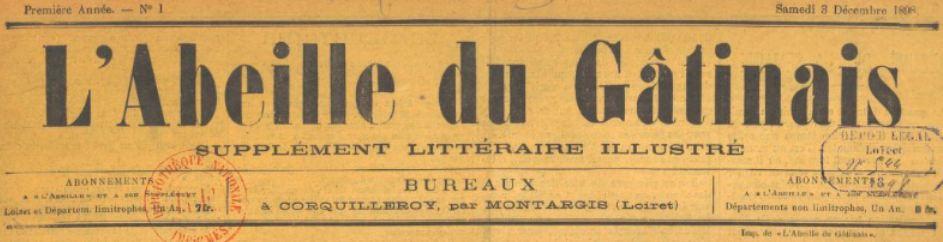 Photo (BnF / Gallica) de : L'Abeille du Gâtinais. Supplément littéraire illustré. Corquilleroy, 1898-[1900 ?]. ISSN 2610-1130.