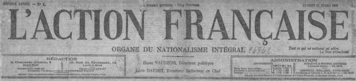 Photo (BnF / Gallica) de : L'Action française. Paris: Action française, 1908-1944. ISSN 0995-9599.