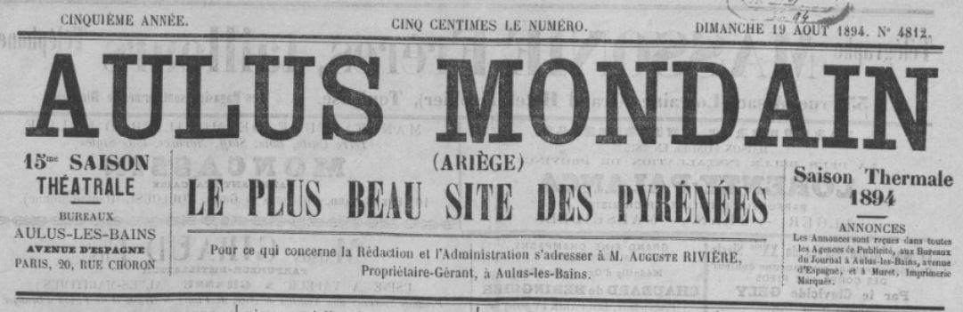 Photo (BnF / Gallica) de : Aulus-mondain. Aulus-les-Bains, [1894 ?-1901 ?]. ISSN 2121-1272.