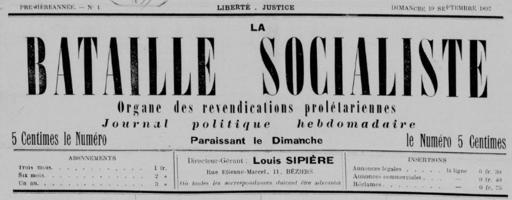 Photo (BnF / Gallica) de : La Bataille socialiste. Béziers, 1897-[1898 ?]. ISSN 2121-8692.