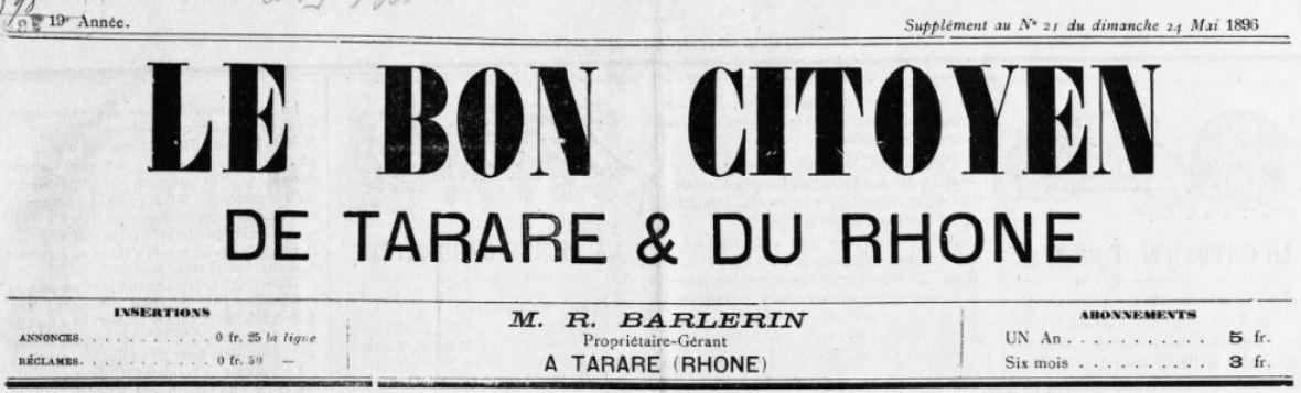 Photo (BnF / Gallica) de : Le Bon citoyen de Tarare et du Rhône. Supplément littéraire illustré. Tarare, [1896 ?]-1904. ISSN 2122-0581.