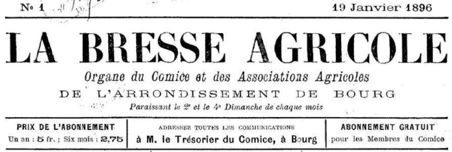 Photo (BnF / Gallica) de : La Bresse agricole. Bourg, 1896-[1901 ?]. ISSN 2102-8796.