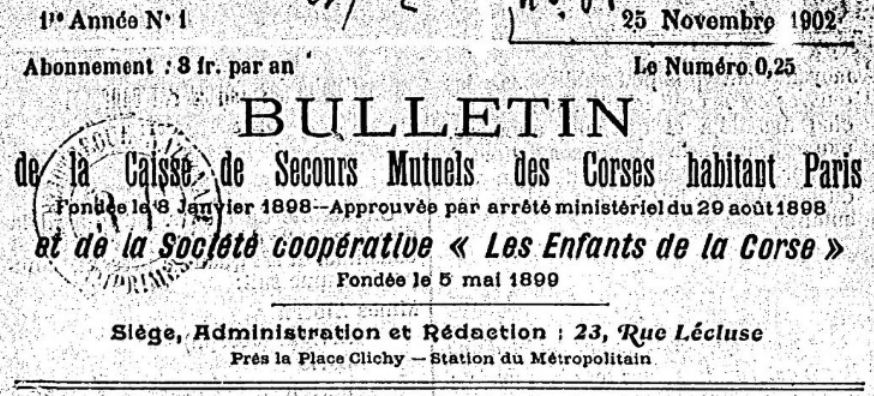 Photo (BnF / Gallica) de : Bulletin de la Caisse de secours mutuels des Corses habitant Paris et de la Société coopérative