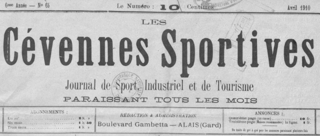 Photo (BnF / Gallica) de : Les Cévennes sportives. Alais, 1904-1927. ISSN 2123-597X.
