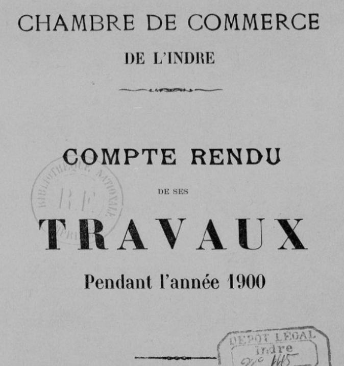 Photo (BnF / Gallica) de : Compte-rendu de ses travaux.... Chambre de commerce de l'Indre. Châteauroux, [1903 ?-1941 ?]. ISSN 2018-8870.