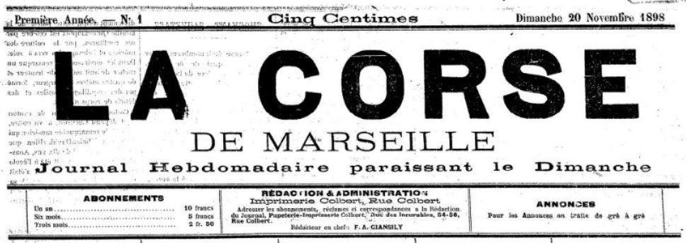 Photo (BnF / Gallica) de : La Corse de Marseille. Marseille, 1898. ISSN 2124-5088.