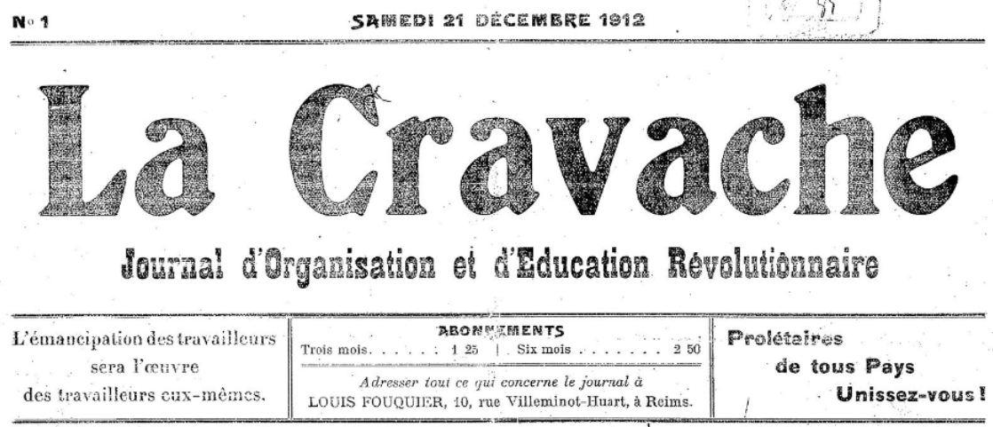 Photo (BnF / Gallica) de : La Cravache. Reims, 1906-1913. ISSN 2124-9857.