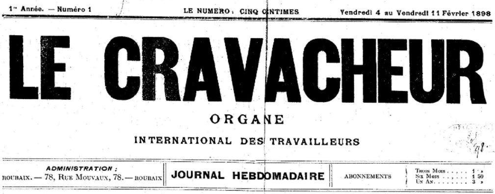 Photo (BnF / Gallica) de : Le Cravacheur. Roubaix, 1898. ISSN 2124-9954.