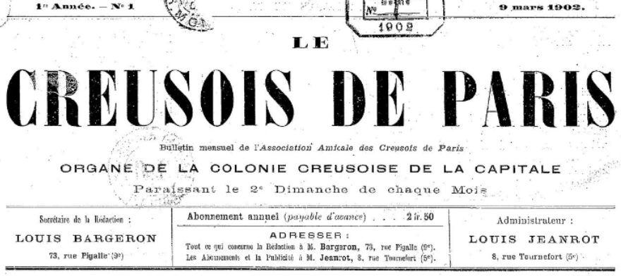 Photo (BnF / Gallica) de : Le Creusois de Paris. Paris, 1902. ISSN 2125-0162.