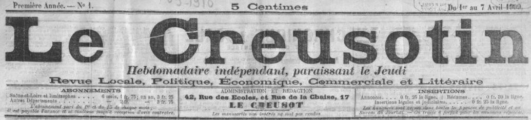 Photo (BnF / Gallica) de : Le Creusotin. Le Creusot, 1909-1928. ISSN 2125-0197.