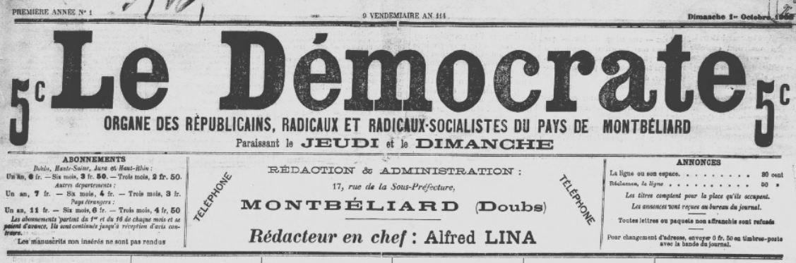 Photo (BnF / Gallica) de : Le Démocrate. Montbéliard, 1905-1907. ISSN 2125-5458.