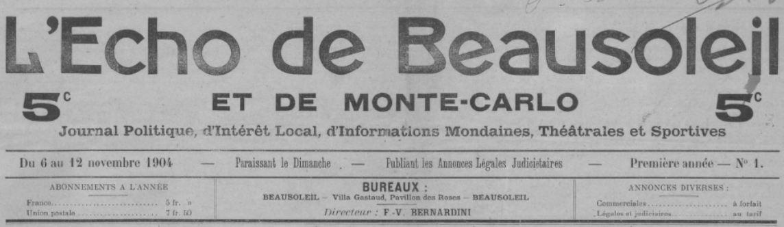 Photo (BnF / Gallica) de : L'Écho de Beausoleil et de Monte-Carlo. Beausoleil, 1904-[1911 ?]. ISSN 2126-1288.