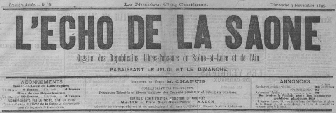 Photo (BnF / Gallica) de : L'Écho de la Saône. Mâcon, [1895 ?-1896 ?]. ISSN 2126-3205.