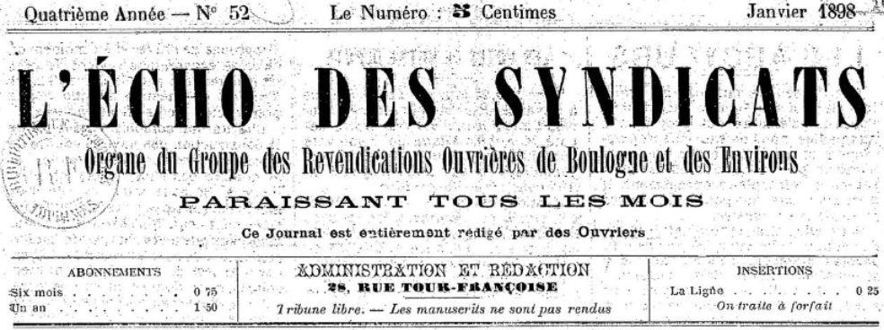 Photo (BnF / Gallica) de : L'Écho des syndicats. Boulogne-sur-Mer, 1895-1907. ISSN 2126-5348.