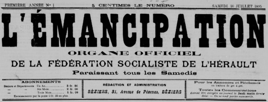 Photo (BnF / Gallica) de : L'Émancipation. Béziers, 1895. ISSN 2127-2301.