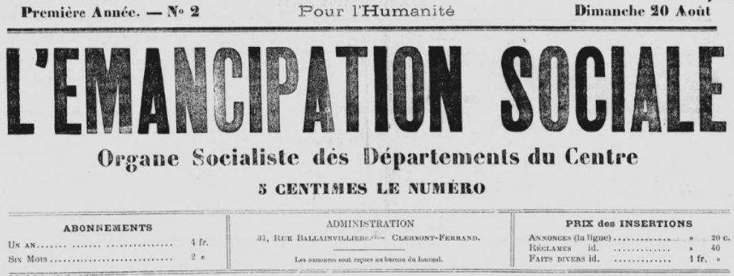 Photo (BnF / Gallica) de : L'Émancipation sociale. Clermont-Ferrand, 1894. ISSN 2127-2476.