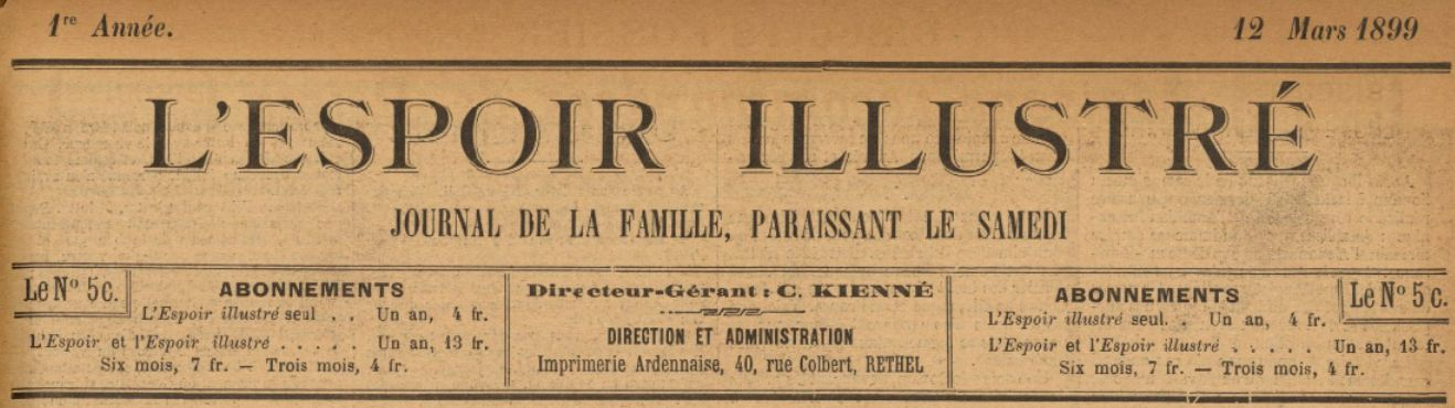 Photo (BnF / Gallica) de : L'Espoir illustré. Rethel, 1899-1903. ISSN 2106-0363.