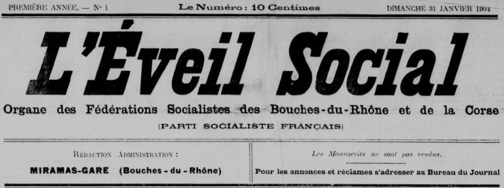 Photo (BnF / Gallica) de : L'Éveil social. Miramas, 1904. ISSN 2127-6560.