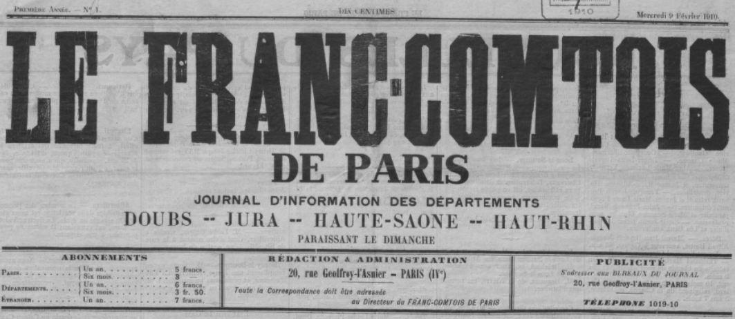 Photo (BnF / Gallica) de : Le Franc-Comtois de Paris. Paris, 1910. ISSN 2024-5025.