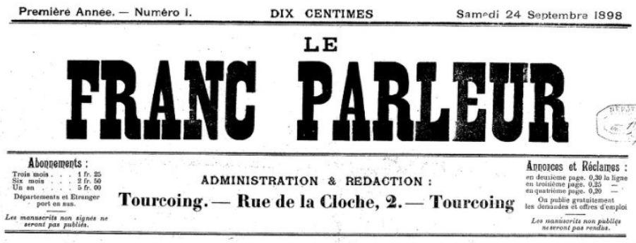 Photo (BnF / Gallica) de : Le Franc-parleur. Tourcoing, 1898. ISSN 2128-1963.