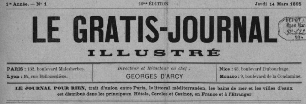 Photo (BnF / Gallica) de : Le Gratis-journal illustré. Paris, Lyon, Nice, Monaco, 1895. ISSN 2128-9972.