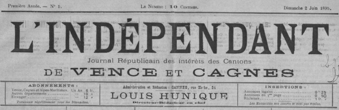 Photo (BnF / Gallica) de : L'Indépendant. Cannes, 1895. ISSN 2129-4429.
