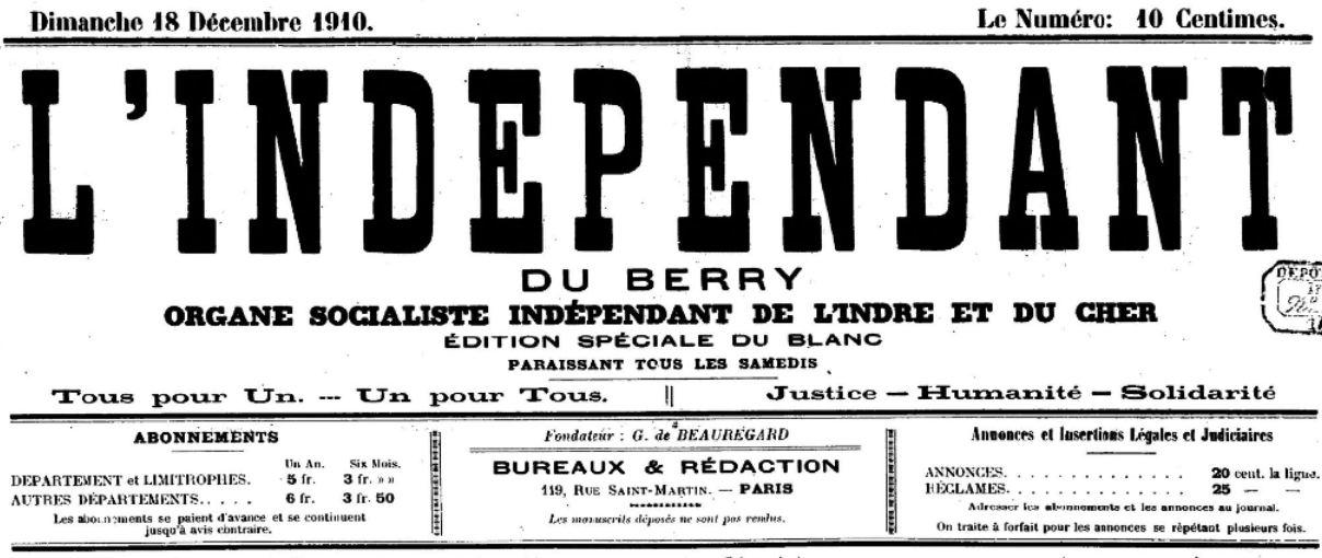 Photo (BnF / Gallica) de : L'Indépendant du Berry. Paris, 1910-1938. ISSN 1966-0634.