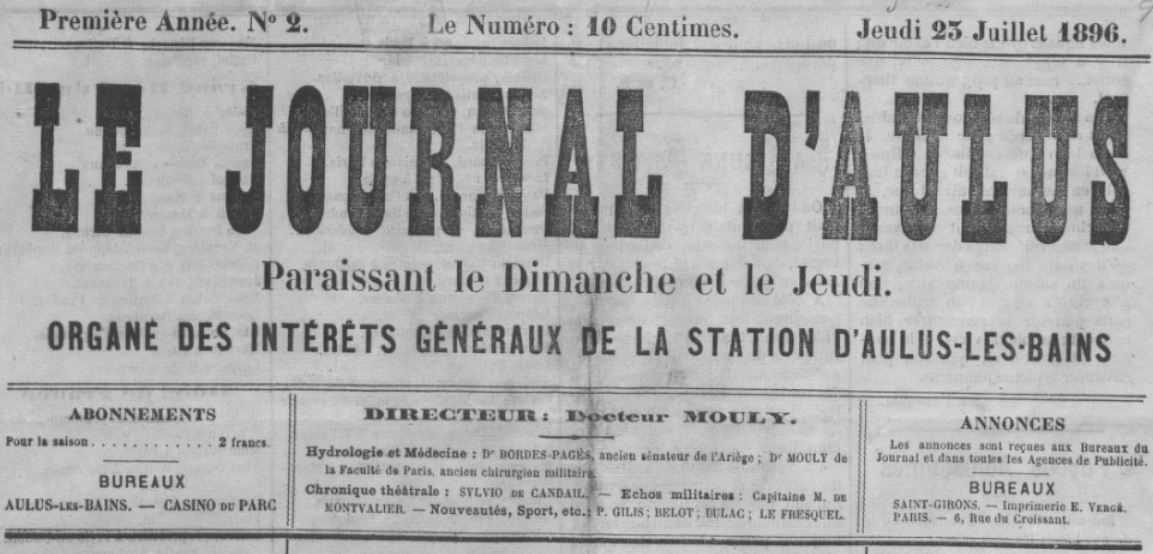 Photo (BnF / Gallica) de : Le Journal d'Aulus. Aulus-les-Bains, 1896-[1914?]. ISSN 2130-2138.