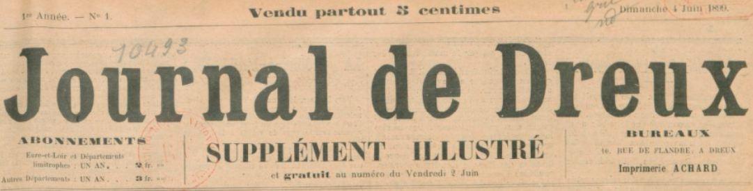 Photo (BnF / Gallica) de : Journal de Dreux. Supplément illustré. Dreux, 1899-1905. ISSN 2130-355X.