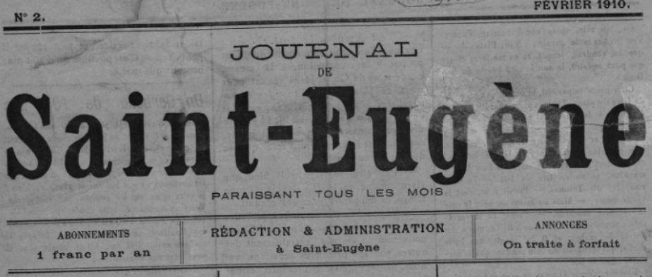 Photo (BnF / Gallica) de : Journal de Saint-Eugène. Saint-Eugène, 1910-[1912 ?]. ISSN 2130-6001.