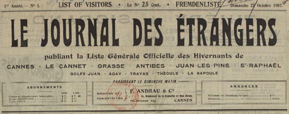 Photo (BnF / Gallica) de : Le Journal des étrangers. Cannes, 1907-1924. ISSN 2130-727X.