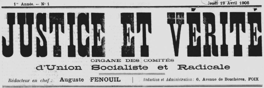 Photo (BnF / Gallica) de : Justice et vérité. Foix, 1906. ISSN 2131-0653.