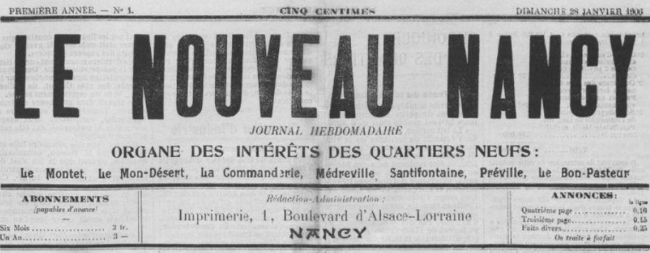 Photo (BnF / Gallica) de : Le Nouveau Nancy. Nancy, 1906. ISSN 2100-8663.