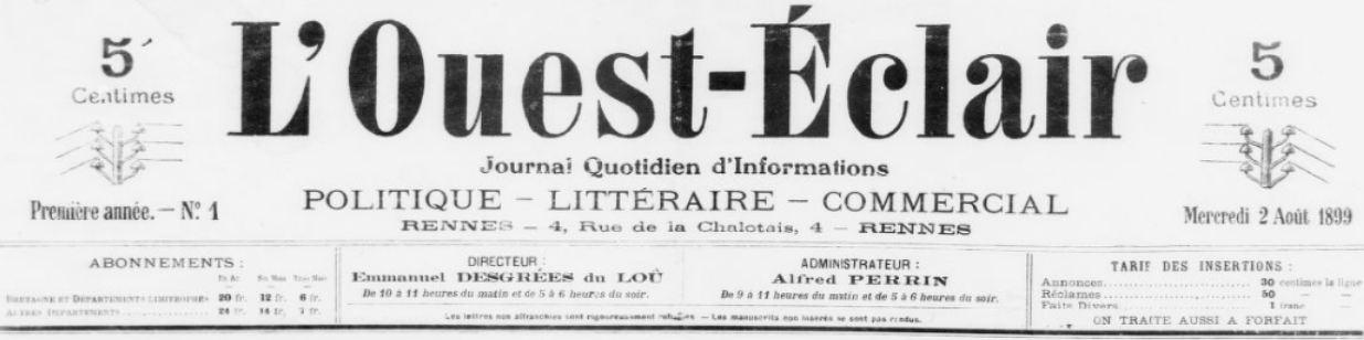 Photo (BnF / Gallica) de : L'Ouest-Éclair. Rennes, 1899-1944. ISSN 1261-6249.