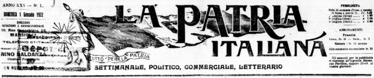 Photo (BnF / Gallica) de : La Patria italiana. Marseille, 1895-1926. ISSN 2133-6385.