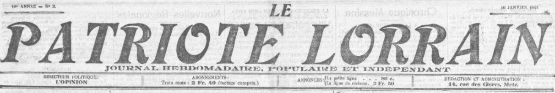 Photo (BnF / Gallica) de : Le Patriote lorrain. Metz, 1904-1934. ISSN 2015-5166.