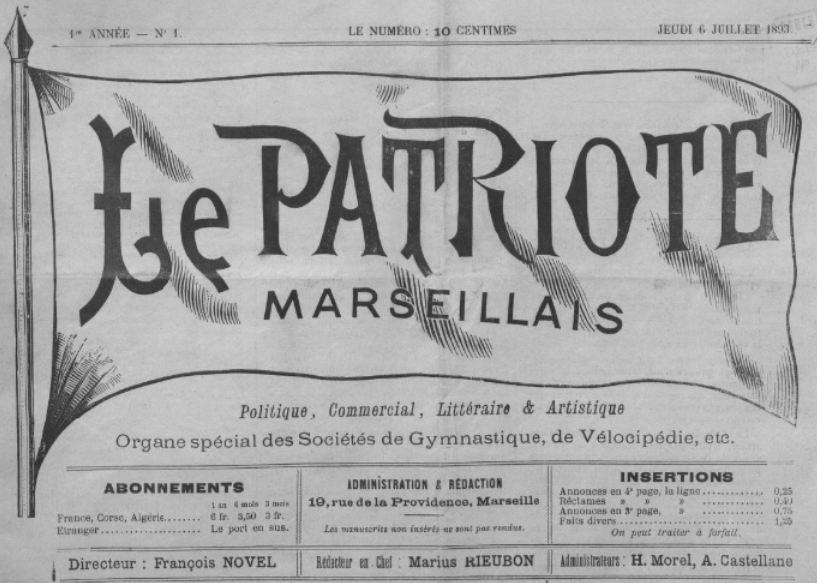 Photo (BnF / Gallica) de : Le Patriote marseillais. Marseille, 1893-[1895 ?]. ISSN 2133-7462.