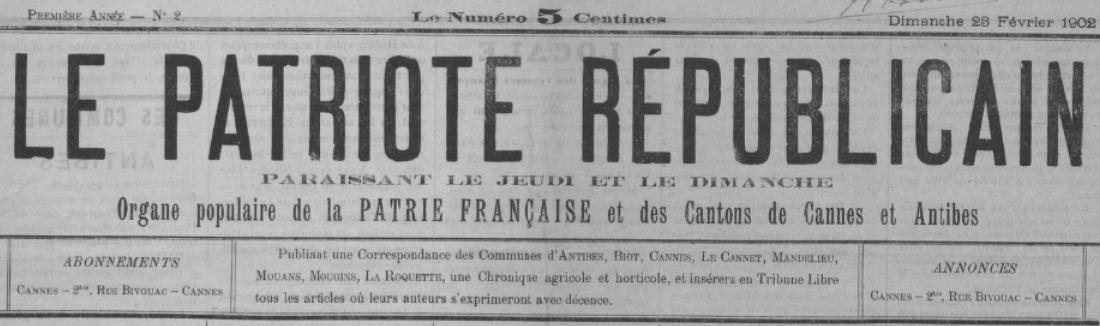 Photo (BnF / Gallica) de : Le Patriote républicain. Cannes, 1902. ISSN 2133-7594.