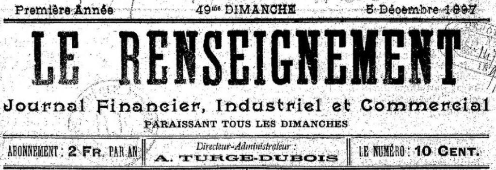 Photo (BnF / Gallica) de : Le Renseignement. Roubaix, 1897-[1901 ?]. ISSN 2136-1444.