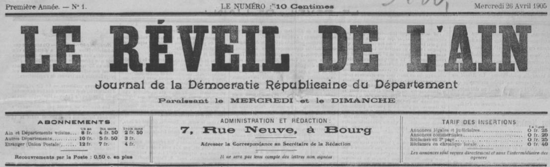 Photo (BnF / Gallica) de : Le Réveil de l'Ain. Bourg-en-Bresse, 1905-1906. ISSN 2136-7744.