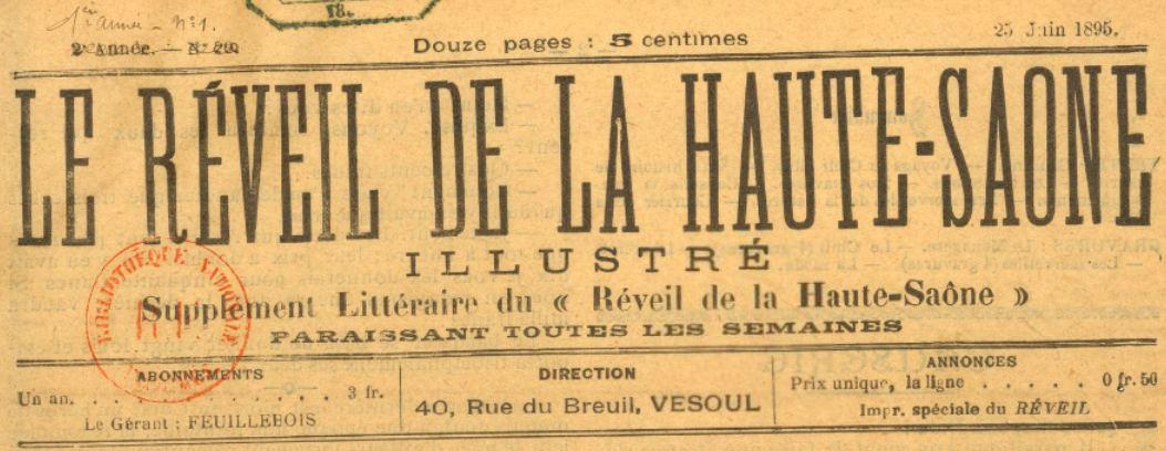Photo (BnF / Gallica) de : Le Réveil de la Haute-Saône illustré. Vesoul, 1895-[1895 ?]. ISSN 2136-8198.