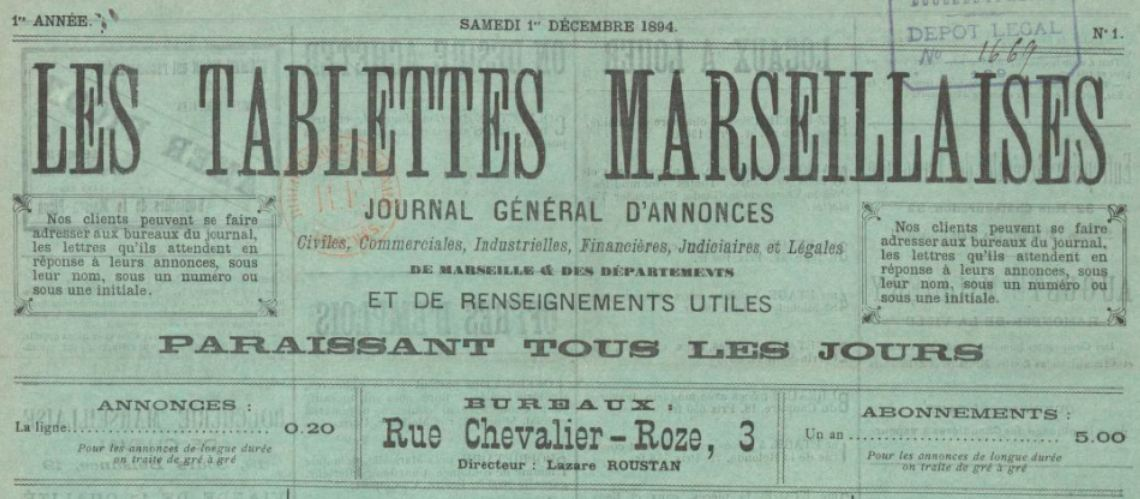 Photo (BnF / Gallica) de : Les Tablettes marseillaises. Marseille, 1894-1914. ISSN 2138-5033.