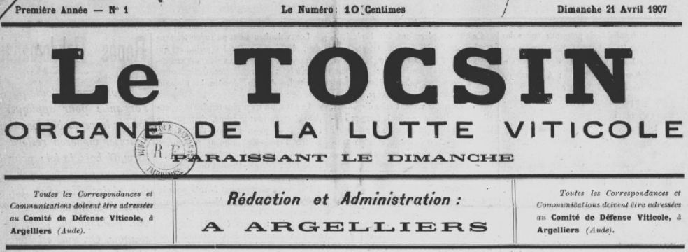 Photo (BnF / Gallica) de : Le Tocsin. Argelliers, 1907. ISSN 2138-6536.