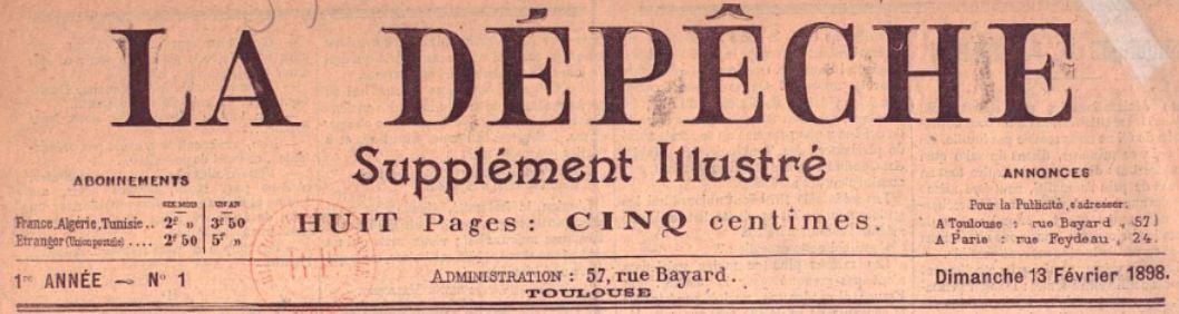 Photo (BnF / Gallica) de : La Dépêche. Supplément illustré. Toulouse, 1898-[1923 ?]. ISSN 1155-617X.